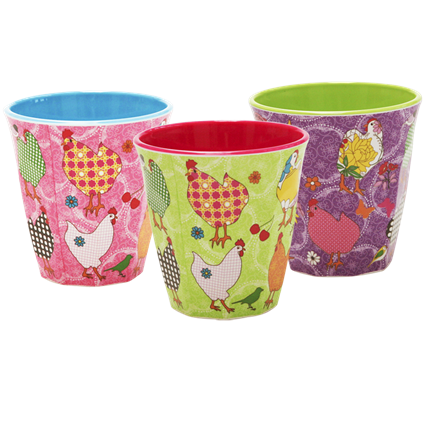Set of 3 Melamine Hen Cups