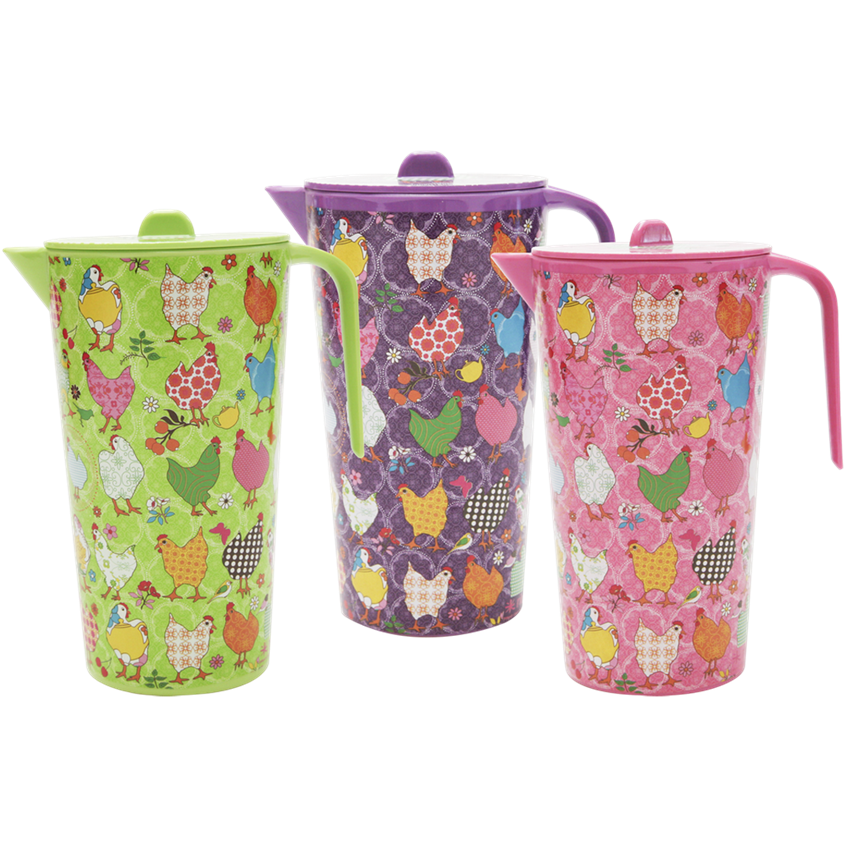 Melamine Hen Jug in Pink, Green or Purple