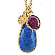 Hera Blue Chalcedony & Ruby Teardrop Pendant Necklace