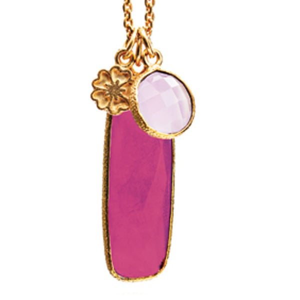 Fuschia Chalcedony & Rose Quartz Hera Pendant Necklace