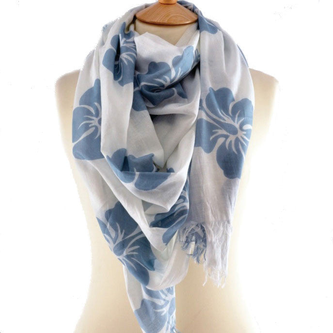 Hibiscus Blue & White Print Scarf