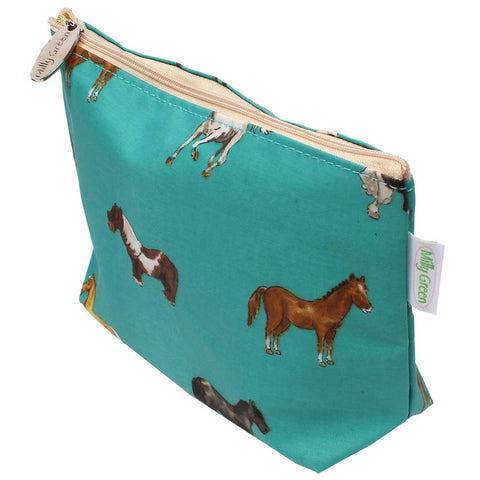 Teal Horses Cosmetic Bag