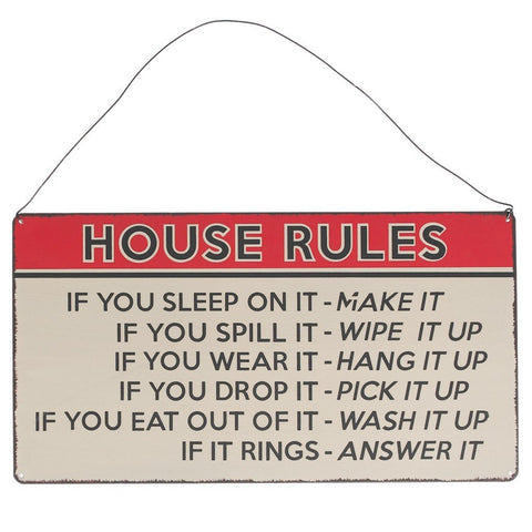 House Rules Hanging Metal Sign