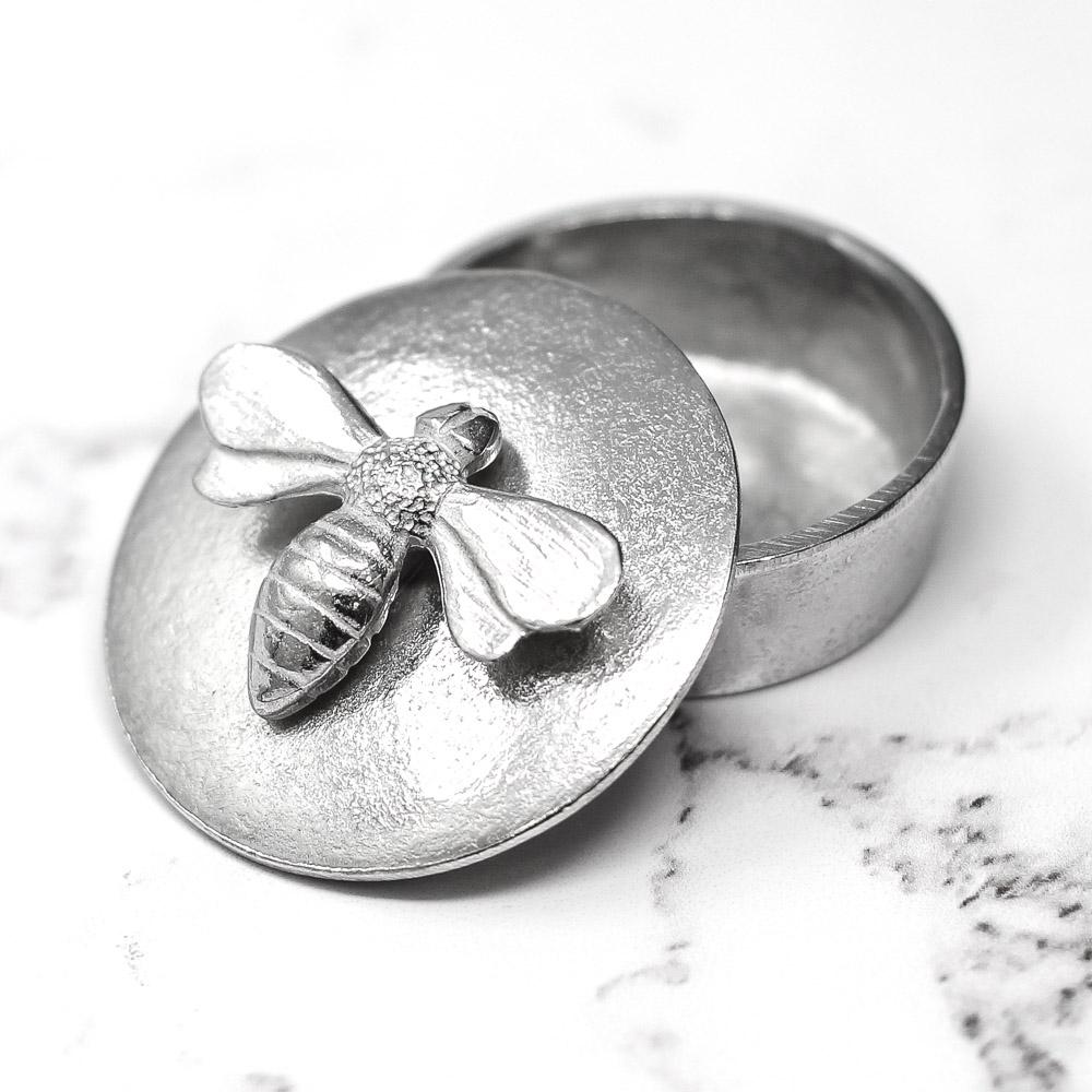 Bee Pewter Trinket Box Extra Small