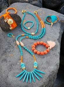 Blue Aqua/Orange Tanzi Short Spike Necklace