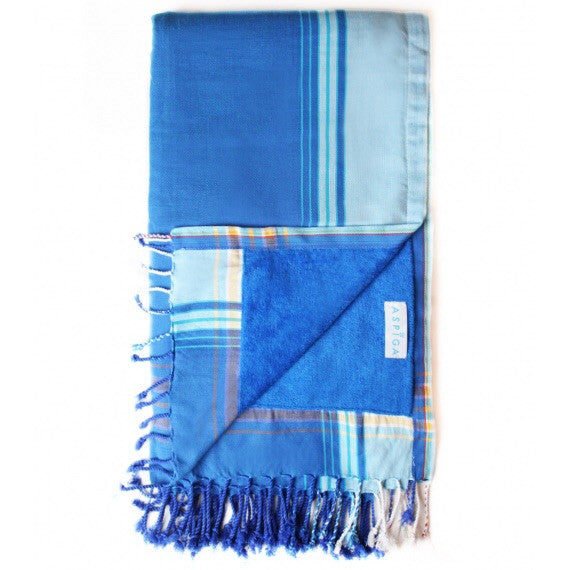 Gari Blue Cotton Kikoy Towel