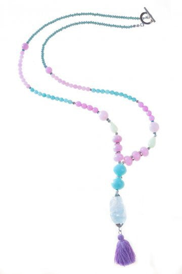 Aqua & Pink Izidora Tassel Necklace