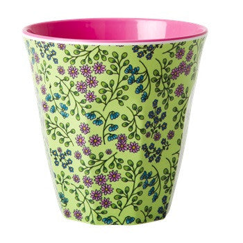Green Floral Melamine Cup