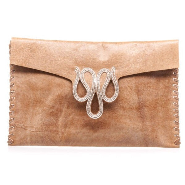 Kya Mid Brown Silver Beaded Clutch Bag