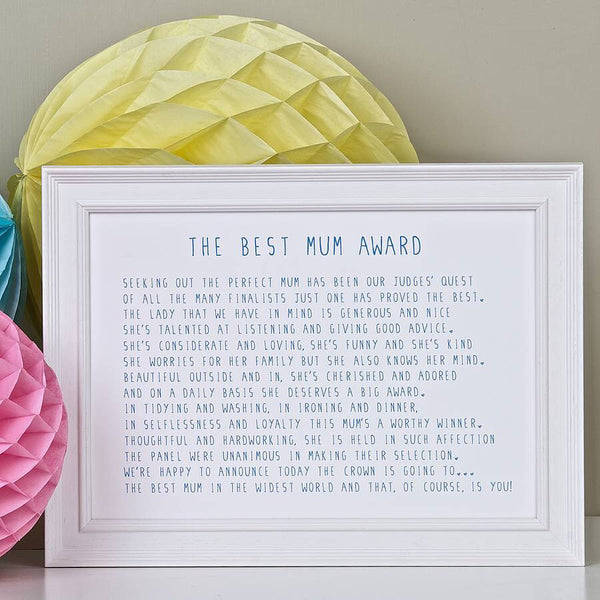 Best Mum Award Poem Print