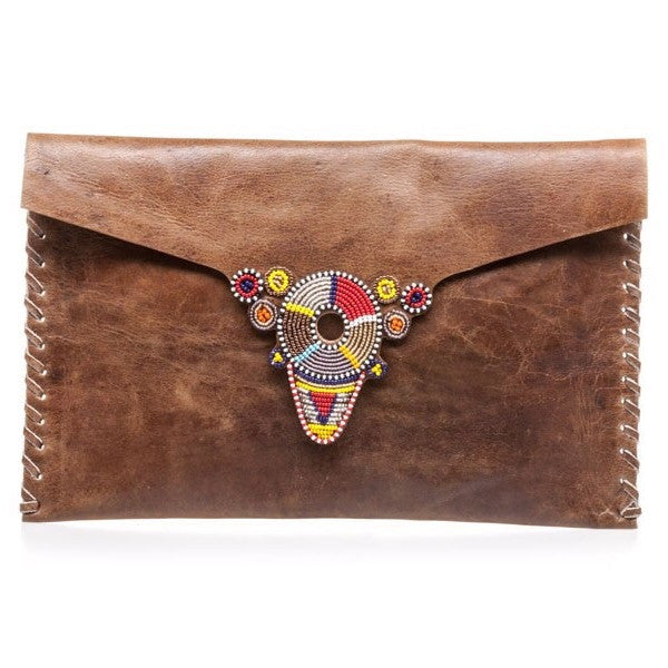 Multi Chocolate Brown Beaded Iree Clutch Bag