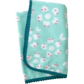 Aqua & White Winter Blossom Fleece Blanket