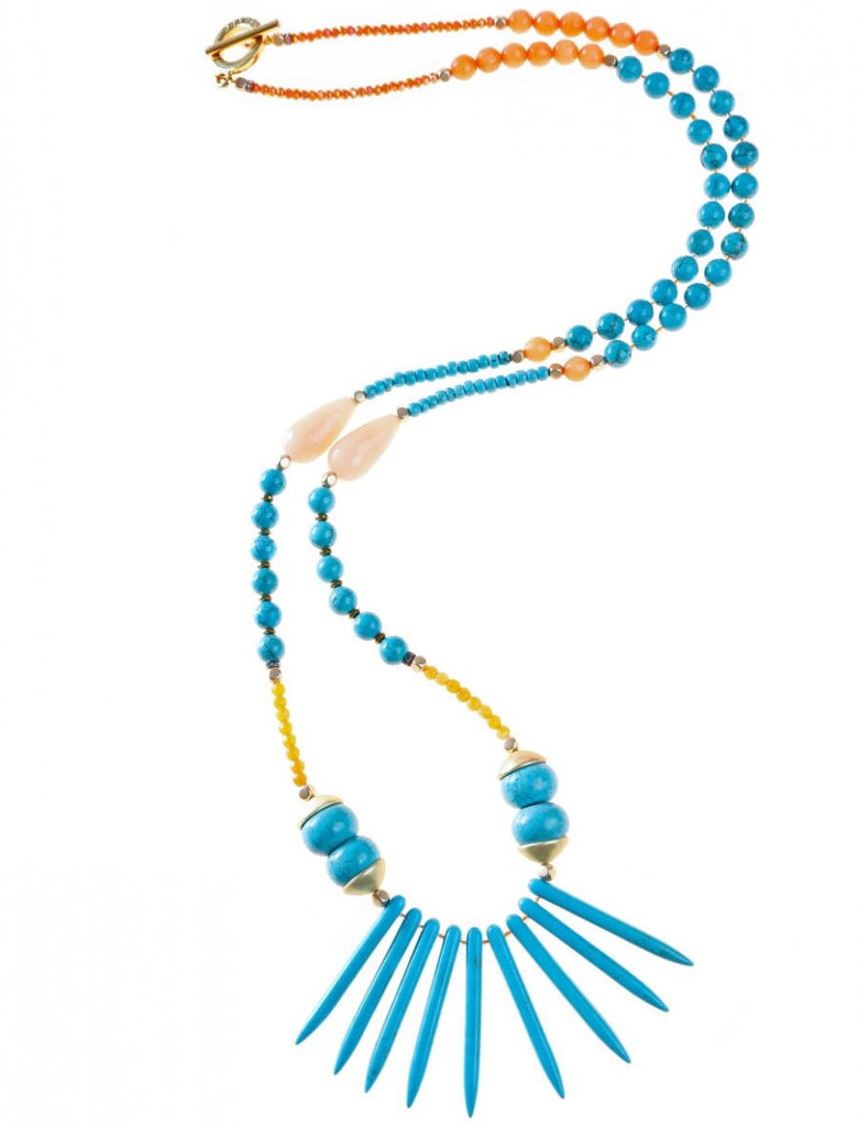 Blue Aqua/Orange Tanzi Spike Necklace