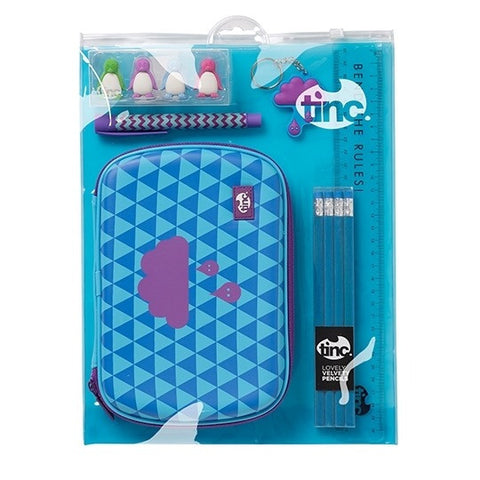 Blue Tinc Geometric School Stationery Set