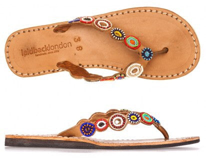 Tribal Mid Brown Flat Sandals