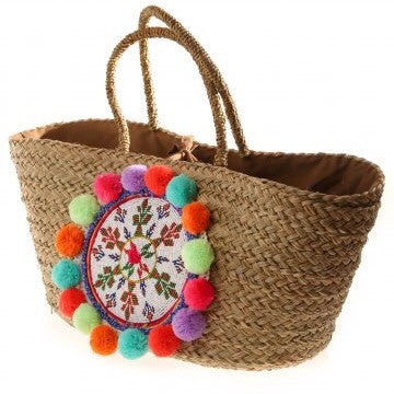 Multi Natural Seagrass Penelope Pom Pom Basket