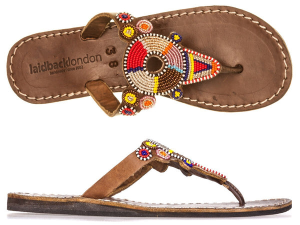 Shibli Tribal Mid Brown Flat Sandals