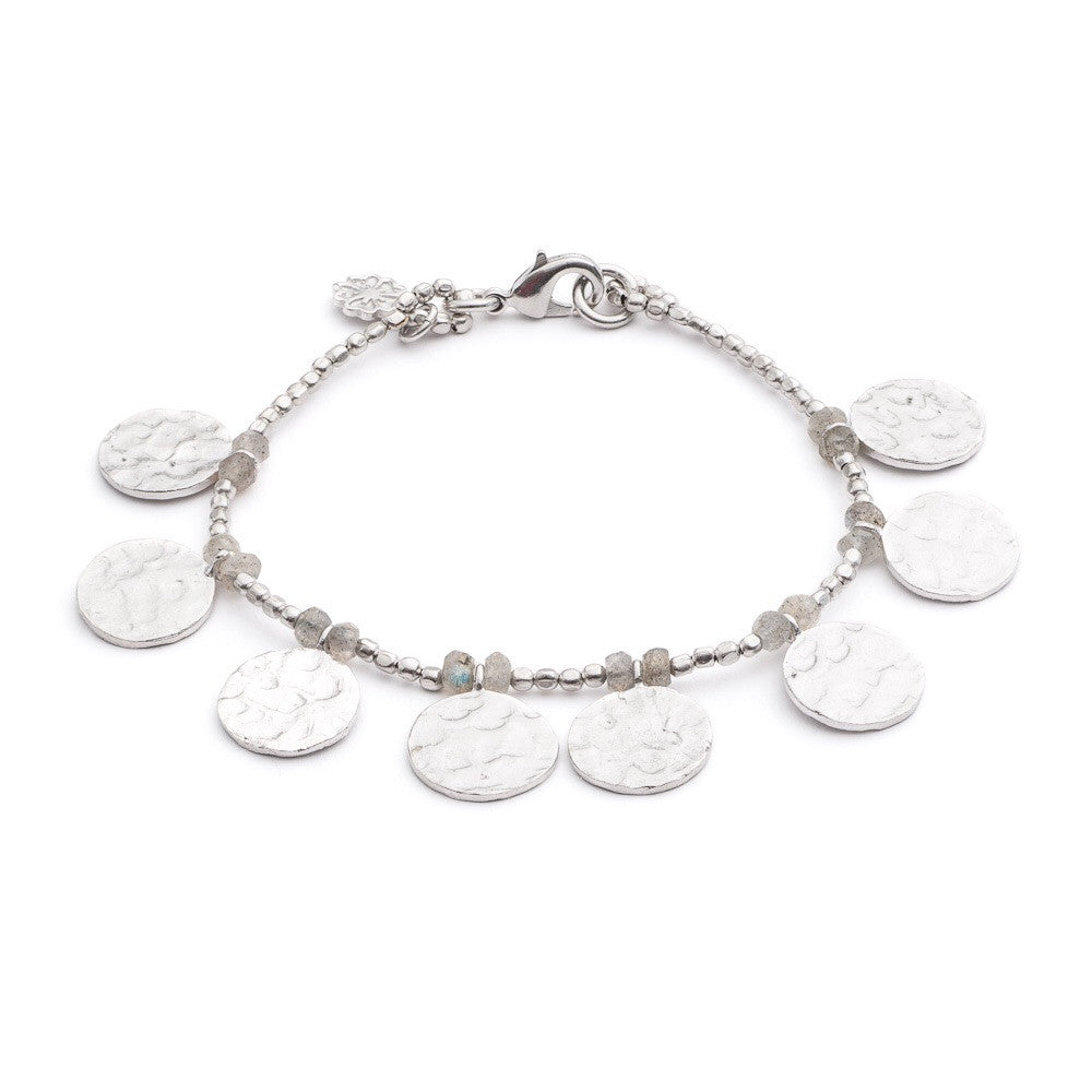 Aqua Chalcedony Textured Silver Cleopatra Coin Bracelet