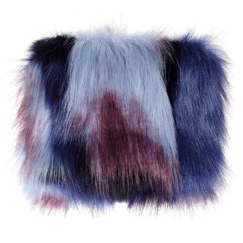 Blue Impressionist Faux Fur Coin Purse