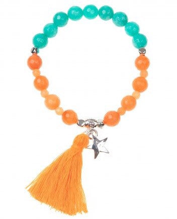 Orange Aqua Taffy Tassel Bracelet