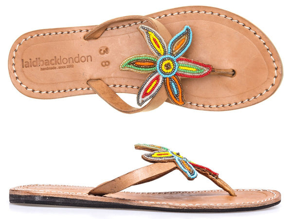Sanaa Mid Brown Flat Sandals