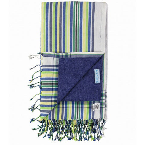 Blue Navy & Lime Takaba Kikoy Towel