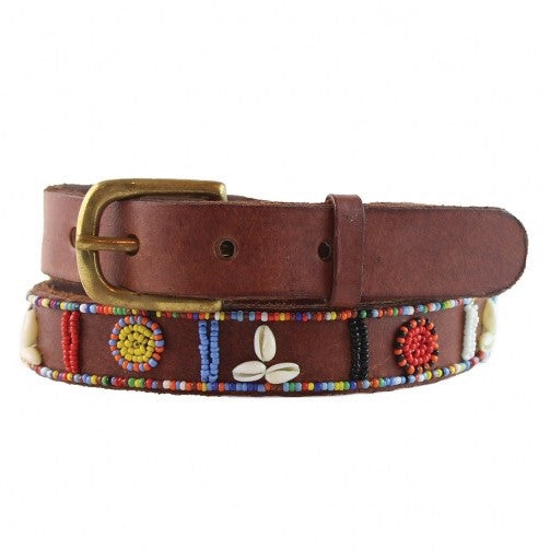 Multi Leather Beaded Shell Belt