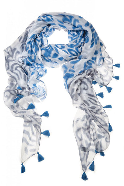 Blue Denim Darcey Tassel Scarf