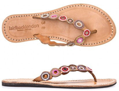 Pink Mix Mid Brown Peak Flat Sandals