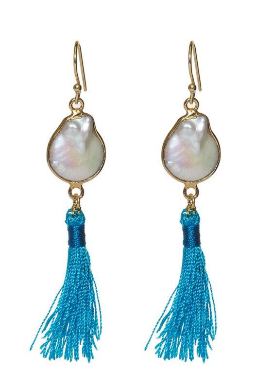 Freshwater Pearl Earrings Turquoise Tassels