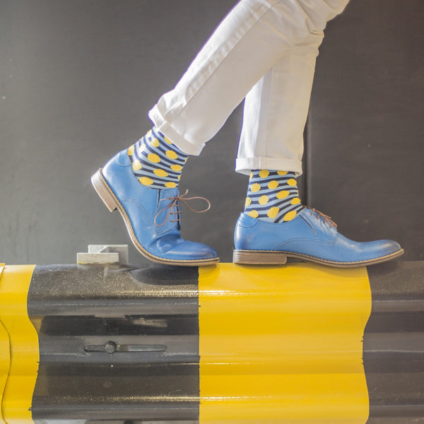 Powder/Yellow Spot/Stripe Fine Mens Socks