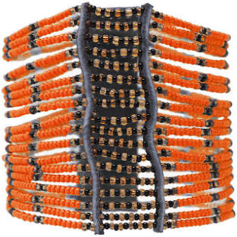 Orange Kitui Big Beaded Maasai Bracelet