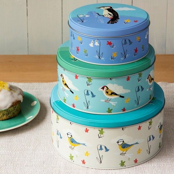 Garden Birds Cake Tins Set of 3