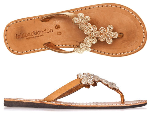 Robyn Mid Brown Silver Flat Sandals