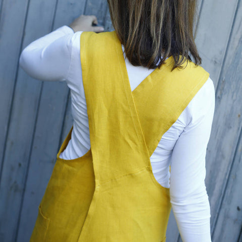 Yellow Cross Back Linen Apron