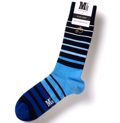 Graded Blue Fine Stripe Mens Socks