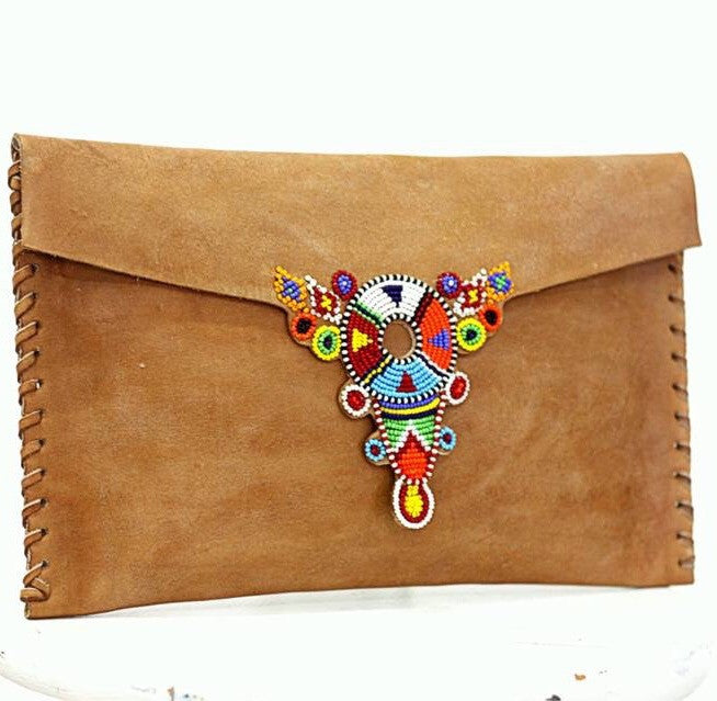 Multi Mid Brown Beaded Leeu Clutch Bag