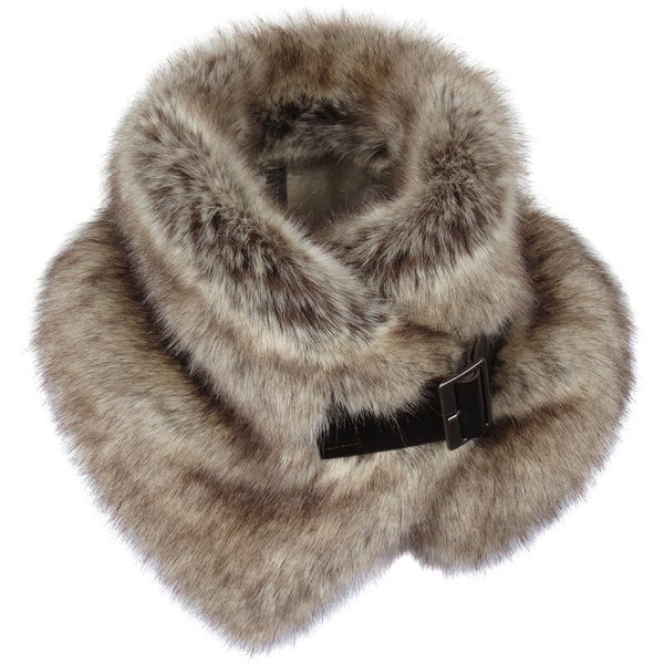 Truffle Faux Fur Buckle Collar