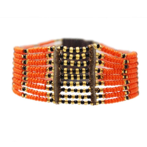 Orange Kitui Beaded Maasai Bracelet
