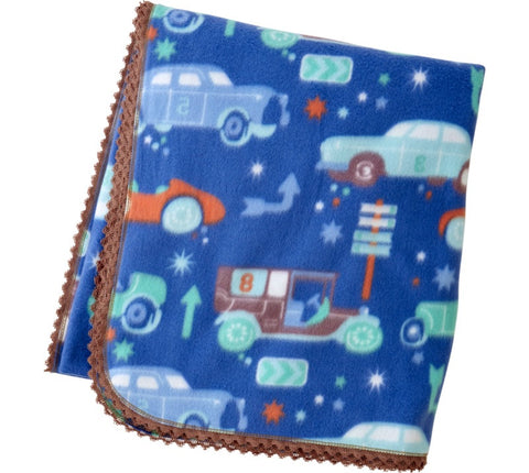 Blue Fleece Blanket With Vintage Cars Print