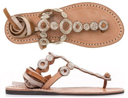 Silver Beaded Conroy Mid Brown Flat Sandals