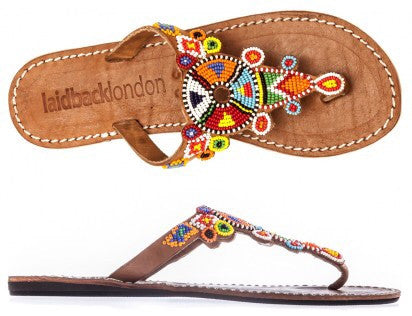 Simba Tribal Mid Brown Flat Sandals
