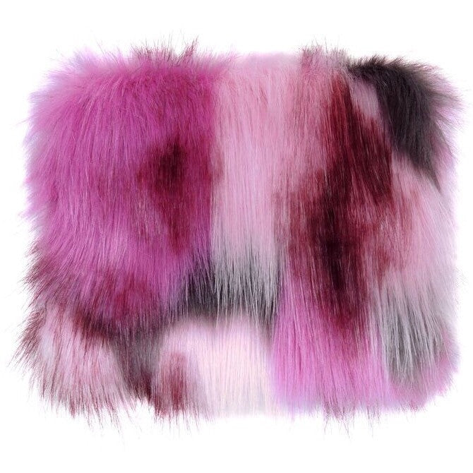 Pink Impressionist Faux Fur Coin Purse