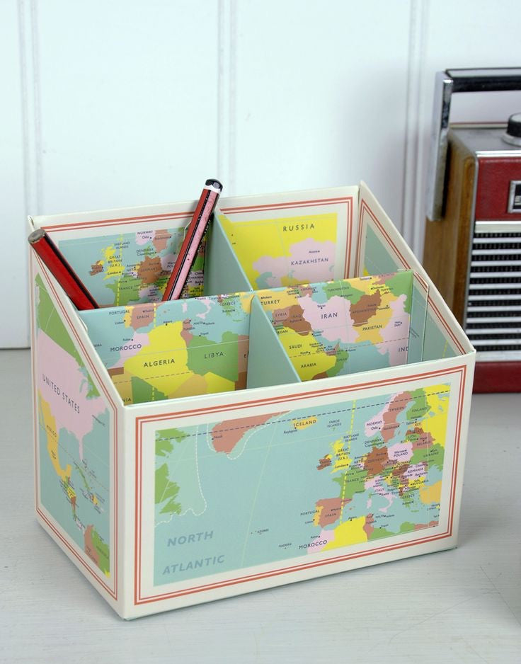 Vintage World Map Pencil Box