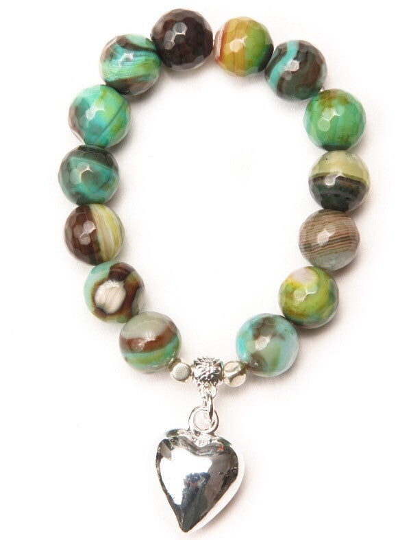 Green Phillis Heart Bracelet