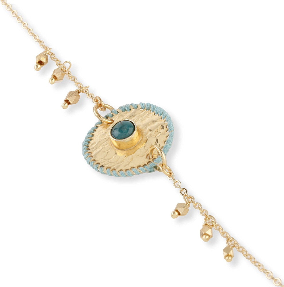 Gold Plated Bracelet with Thread Work Disc & Turquoise
