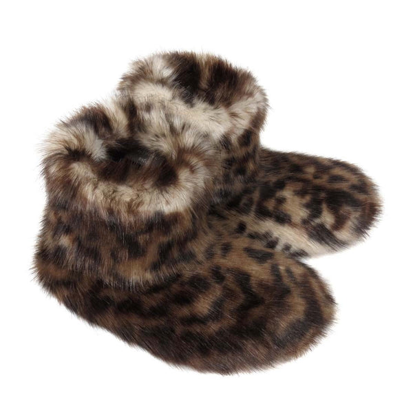 Ocelot Faux Fur Slipper Boots