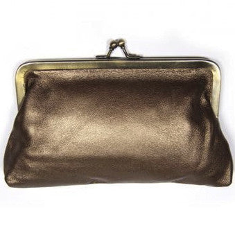 Copper Leather Clutch Bag
