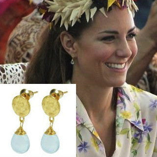 Azuni London Kate Middleton Disc Stud Earrings with Aqua Chalcedony Drops