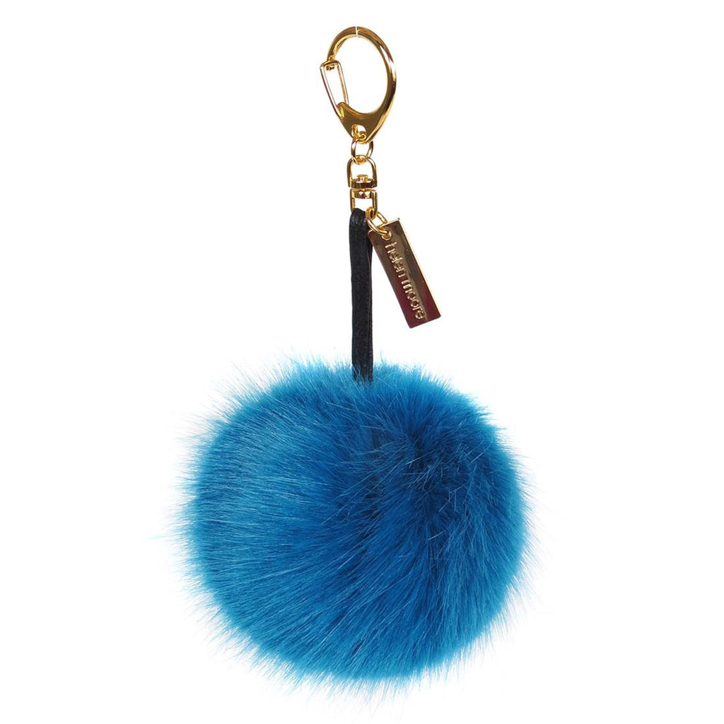 Kingfisher Faux Fur Pom Pom Keyring